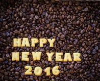 alfabet gelukkig nieuw jaar 2016 gemaakt van broodkoekjes Royalty-vrije Stock Foto's
