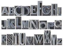 Alfabet in gemengd metaaltype Stock Afbeeldingen