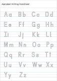 Alfabet het Schrijven praktijkaantekenvel Stock Afbeeldingen