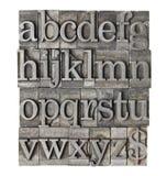 Alfabet in het type van grungemeta Stock Fotografie