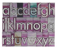 Alfabet in het type van metaalletterzetsel Stock Afbeeldingen