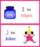 Alfabet I en J stock foto's