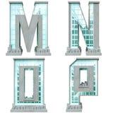 Alfabet i form av stads- byggnader.