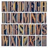Alfabet iand punctuatie in houten type Royalty-vrije Stock Foto