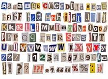 alfabet isolerad tidning Arkivbild