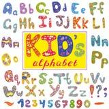 Alfabet in jong geitjestijl Vector met letters en getallen Hand getrokken doopvont Stock Foto's