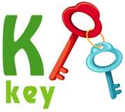 Alfabet K met sleutel Royalty-vrije Stock Fotografie