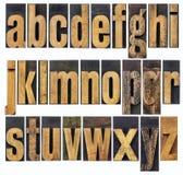 Alfabet in kleine letters in houten type Royalty-vrije Stock Afbeeldingen