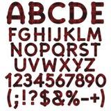 Alfabet, letters, getallen en tekens van doekgeruit schots wollen stof Vector voorwerpen vector illustratie
