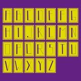 Alfabet, lettres fortes, couleurs de lettres, vertes et pourpres d'isolement Illustration Stock