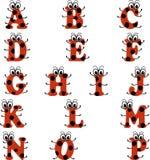 Alfabet in lieveheersbeestjestijl, in rode en zwarte kleur Royalty-vrije Stock Foto's