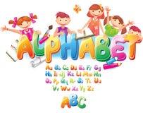 Alfabet med barn stock illustrationer