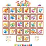 Alfabet med bilder för barn Arkivfoton