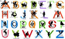Alfabet med mytiska varelser stock illustrationer