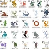 Alfabet med mytiska varelser vektor illustrationer