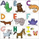 Alfabet met beeldverhaaldieren 1 Stock Fotografie