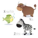 Alfabet met dieren van X aan Z vector illustratie