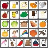 Alfabet met Grappige Beeldverhaalinzameling Stock Foto's