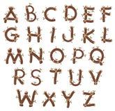 Alfabet met takken en bladeren. Royalty-vrije Stock Foto's