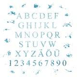 Alfabet met waterbrieven Stock Afbeeldingen