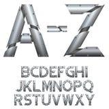 alfabet Metal budowa pojedynczy białe tło Zdjęcia Stock