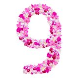 Alfabet nummer nio från orkidéblommor som isoleras på vit Royaltyfria Bilder