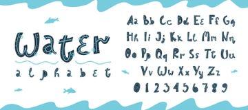 Alfabet och nummer f?r vektor undervattens- latinskt i skandinavisk stil royaltyfri illustrationer