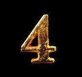 Alfabet och nummer i bladguld Fotografering för Bildbyråer