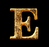 Alfabet och nummer i bladguld Royaltyfri Foto