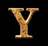 Alfabet och nummer i bladguld Royaltyfria Bilder