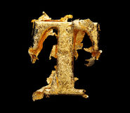 Alfabet och nummer i grov bladguld Royaltyfria Bilder