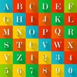 Alfabet och tal royaltyfri illustrationer