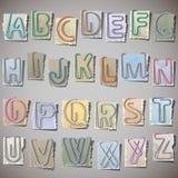 Alfabet op oud document Stock Afbeelding