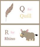Alfabet Q och R Arkivfoto