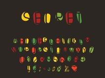 Alfabet retro ontwerp Letters, getallen en leestekens, serif doopvont Eps 10 royalty-vrije stock afbeeldingen