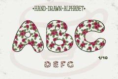 Alfabet romantisch uitstekend ontwerp Engelse brieven Rode rozen Sjofele elegante stijl Doopvont vectortypografie Getrokken hand royalty-vrije stock afbeeldingen