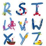 Alfabet som är nautiskt från R till Z vektor illustrationer