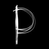 Alfabet som är skriftligt med lampan bokstav p Fotografering för Bildbyråer