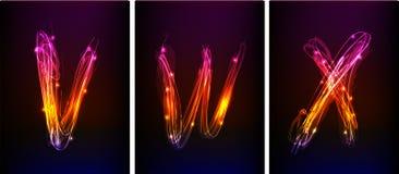 Alfabet som göras av neonljus vektor illustrationer