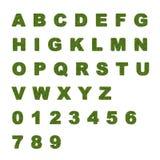 Alfabet som göras av sidor och gräs på en vit bakgrund Arkivbild