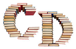 Alfabet som göras ut ur böcker, bokstäver C och D Arkivbild