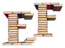 Alfabet som göras ut ur böcker, bokstäver E och F Arkivbild