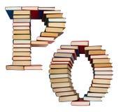 Alfabet som göras ut ur böcker, bokstäver P och nolla Royaltyfri Bild