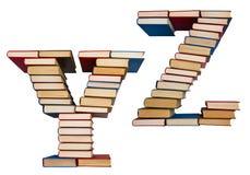 Alfabet som göras ut ur böcker, bokstäver Y och Z Royaltyfri Bild