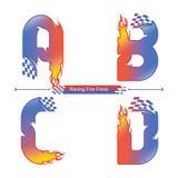 Alfabet som springer brandstilsortsstil i en uppsättning ABCD royaltyfri illustrationer