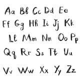Alfabet svarta bokstäver stock illustrationer