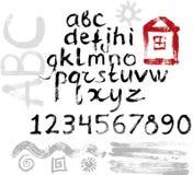 alfabet tecknad grungehand royaltyfri illustrationer