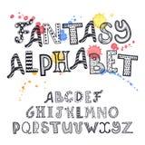 alfabet tecknad hand Arkivfoton