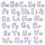 alfabet tecknad hand vektor illustrationer