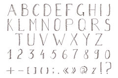 alfabet tecknad hand Vektorabc, stilsort, alfabet Arkivfoton